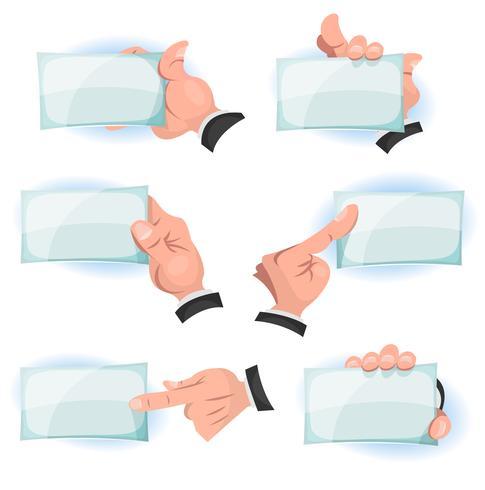 Komische Hände, die ID-Karten-Zeichen halten vektor