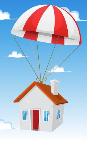 Hus med flygpostleverans vektor