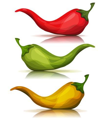 Tecknad röd, grön och gul varm chili peppar vektor