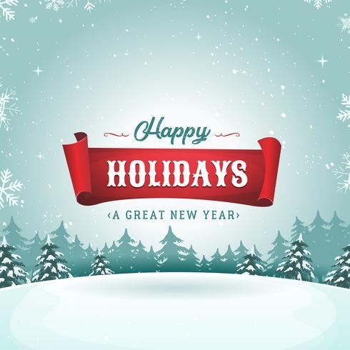 Frohe Feiertage Gruß-Karte und Weihnachtslandschaft vektor