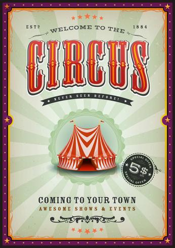 Weinlese-Zirkus-Plakat mit Sonnenstrahlen vektor