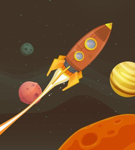 Raketenschiff durch den Weltraum fliegen vektor