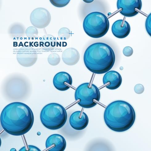 Vetenskap Bakgrund Med Atomer Och Molekyler vektor