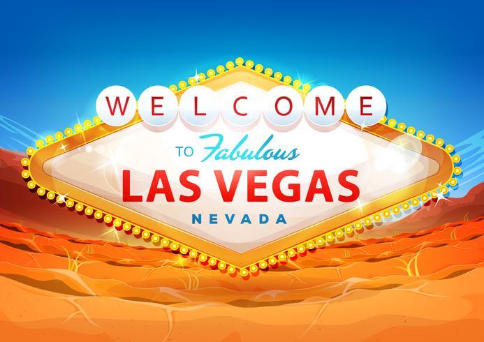 Willkommen in Las Vegas-Zeichen auf Wüstenhintergrund vektor