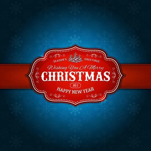 vintage-glada julen-Holidays-snöflingor-röd-blå vektor