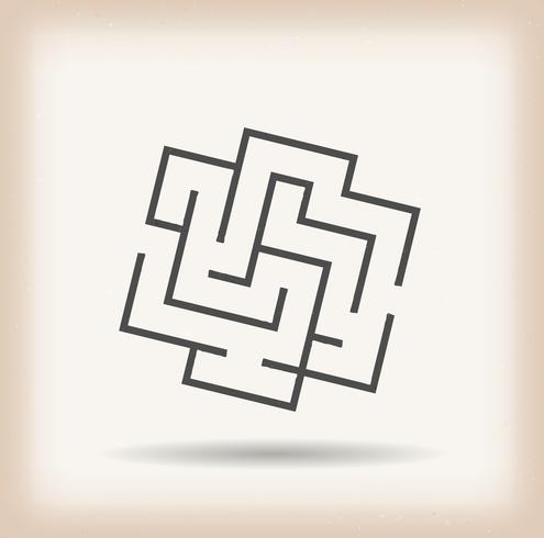 labyrint symbol på vintage bakgrund vektor