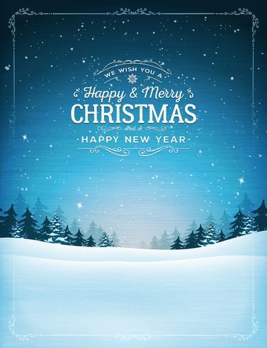 Weinlese-Weihnachten und Landschaft des neuen Jahres vektor