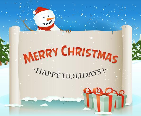 Santa Snowman hinter Weihnachtspergament-Hintergrund vektor