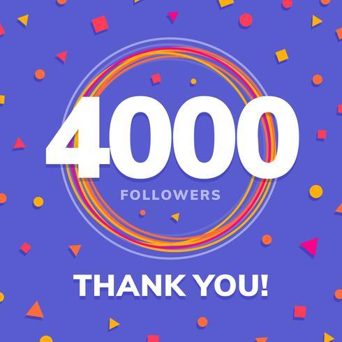 4000 följare, sociala webbplatser post, hälsningskort vektor