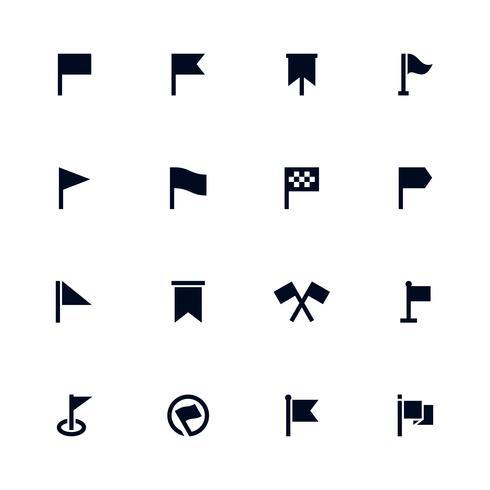 Flagg ikonuppsättning, kartpositionsmarkering vektor