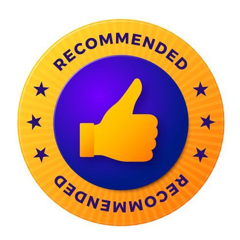Rekommenderad etikett, rundmärke för högkvalitativa produkter vektor
