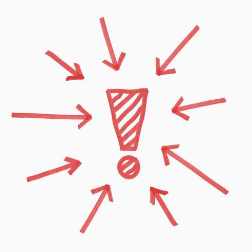 Hand rita utropstecken, cirkel av pilar, röd färg, illustration vektor