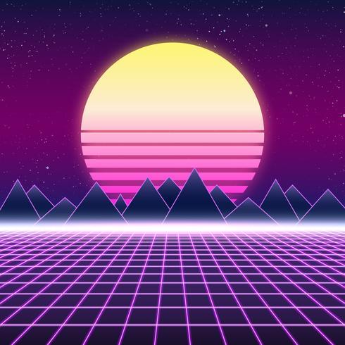 Synthwave Retro- Design, Berge und Sonne, Illustration vektor