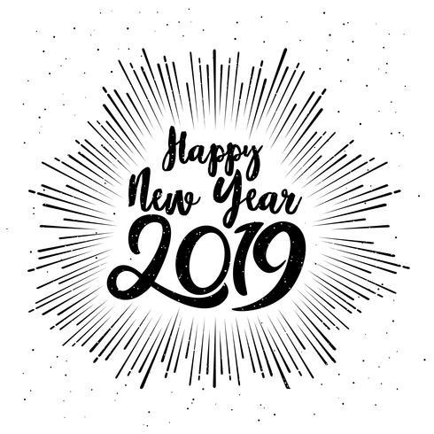 Glückliches typografisches neues Jahr 2019. Vektor-Illustration mit Beschriftungsaufbau und -explosion. Feiertagsweinlese festlicher Aufkleber vektor