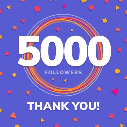 5000 följare, sociala sidor posta, hälsningskort vektor