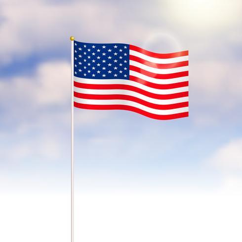 Amerikas förenta stater flagga på blå himmel bakgrund vektor