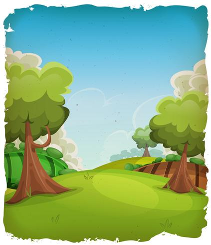 Tecknad lantlig landskapsbakgrund vektor