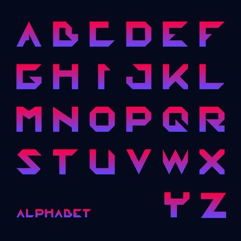 Geometrisk typsnitt, Modern futuristisk typografi vektor