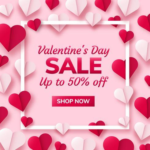 Valentinsgrußtageshintergrund mit den Papierorigamiherzen geteilt zur Hälfte. vektor