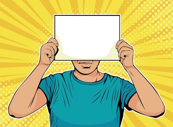 Geschäftsmann mit leerem Papier vor Gesicht. Bunte Vektorillustration in der Retro- komischen Art der Pop-Art. vektor