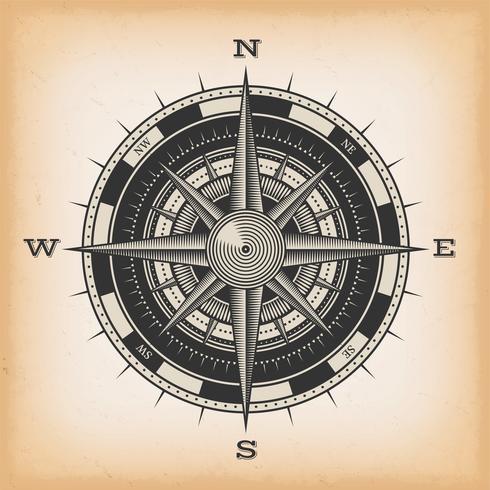 Windrose-Kompass auf Weinlesehintergrund vektor