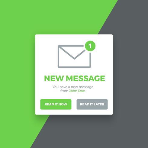 Popup Ny meddelande skärm, illustration vektor