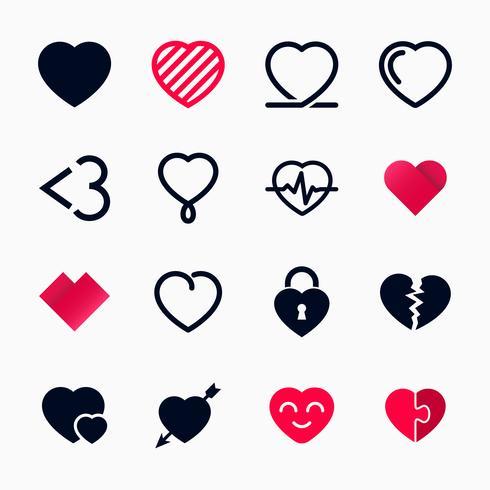 Herzsymbol für den Valentinstag eingestellt vektor