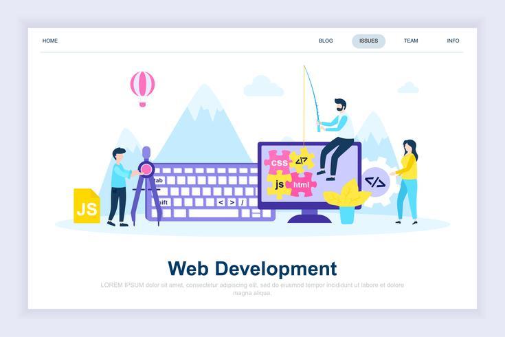 Webbutveckling modernt plattdesignkoncept vektor