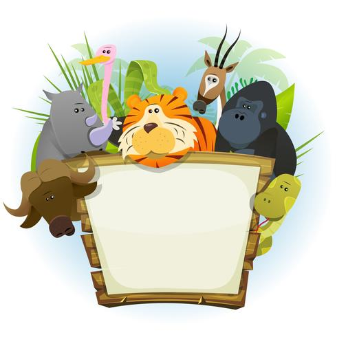 Wilde Tiere Zoo Holz Schild vektor