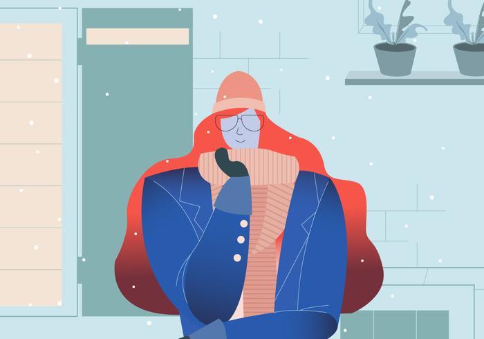 Snygg Glasögon Tjej Med Vinter Outfit Vektor Illustration
