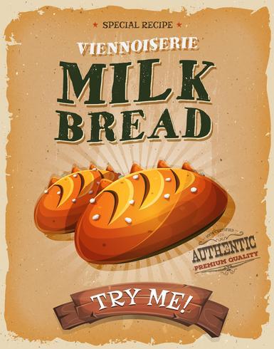 Grunge und Weinlese-Milchbrot-Plakat vektor
