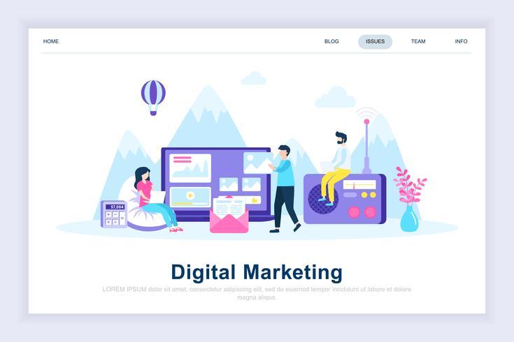 Digital marknadsföring modernt plattdesign koncept vektor
