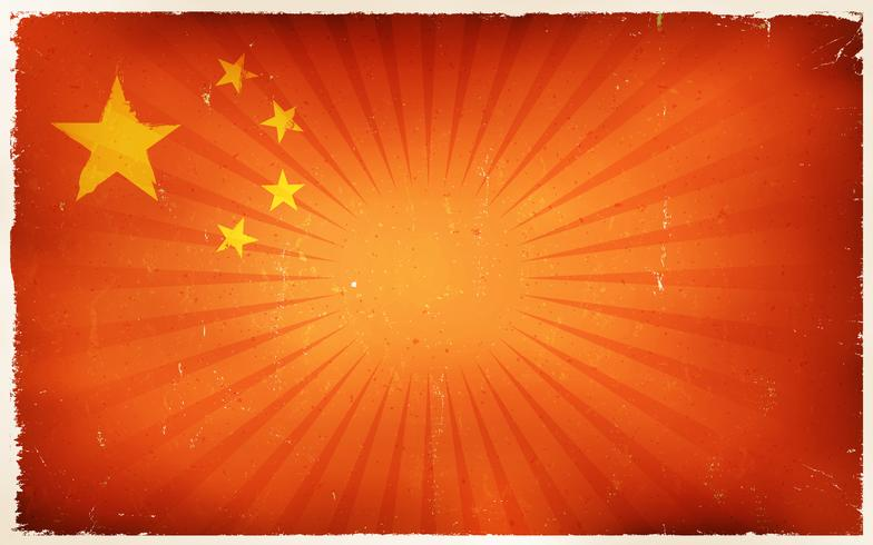 Vintage Kina Flagga Bakgrund vektor
