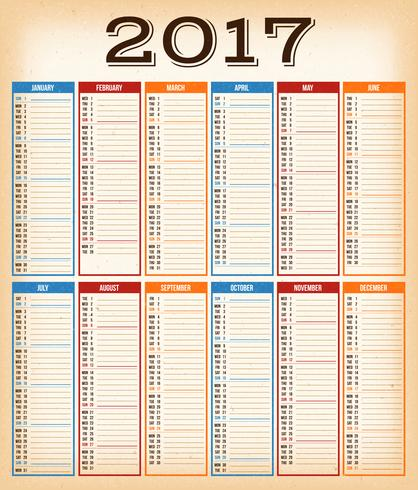 Vintage Design Kalender för år 2017 vektor