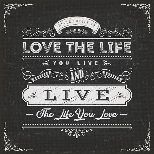 Älska livet du lever citat vektor