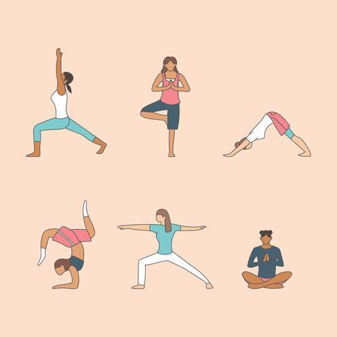 Kvinnor som gör yoga vektor