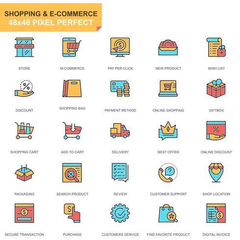 Shopping och E-handels ikonuppsättning vektor