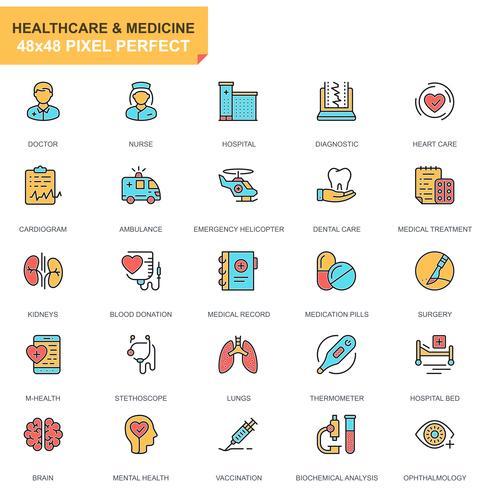 Sjukvård och medicin ikonuppsättning vektor