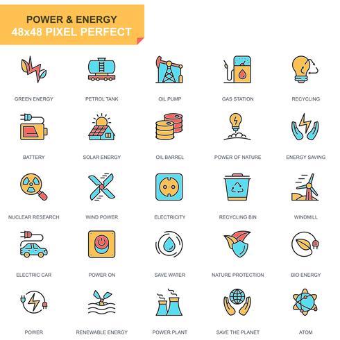 kraftindustri och energi ikonuppsättning vektor