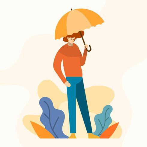 Flat Modern Boy håller paraply Vector Illustration