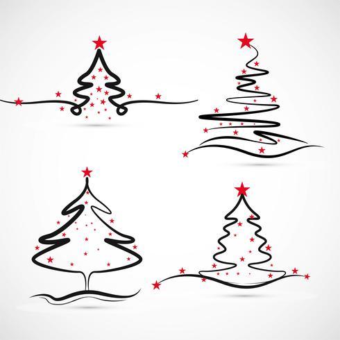 Eleganter fröhlicher Weihnachtsbaumsatz-Designvektor vektor