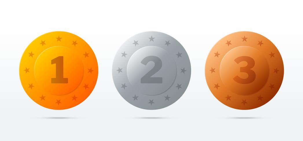 Guld, silver, bronsmedaljer. runda frimärken vektor
