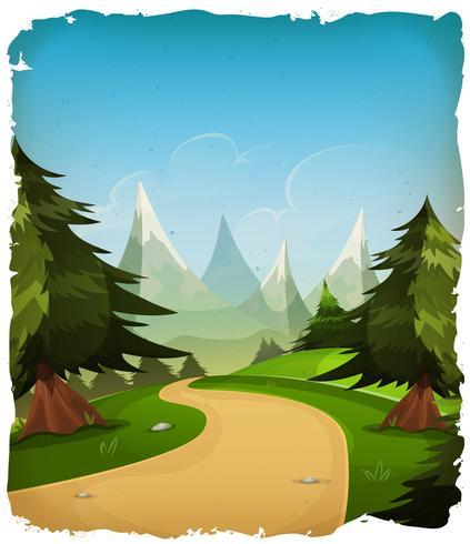 Cartoon Mountains Landskap Bakgrund vektor