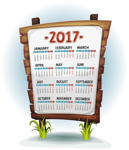 2017 Kalender på träskylt vektor