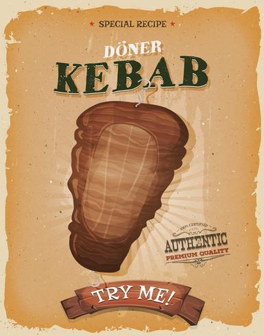 Grunge und Weinlese-Kebab-Sandwich-Plakat vektor