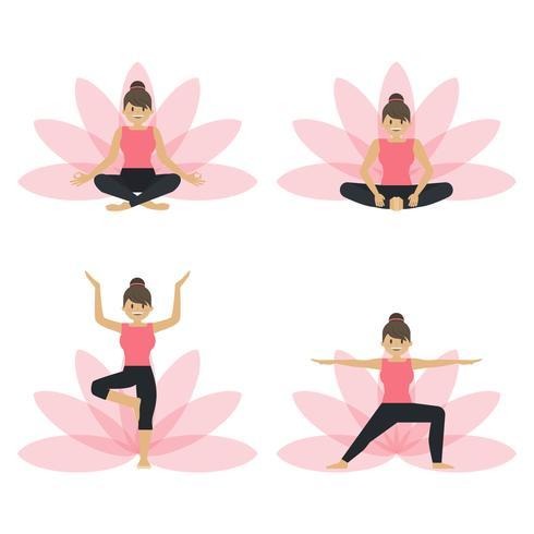 Plattformig kvinnlig yogaklass håller vektorgrafik vektor