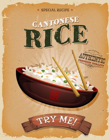Stekt ris med asiatiska ätpinnar på vintageaffisch vektor
