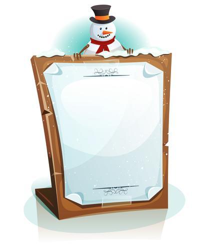 Schneemann, der Weihnachtshintergrund hält vektor