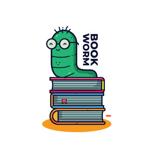 Bücherwurm-Vektor vektor