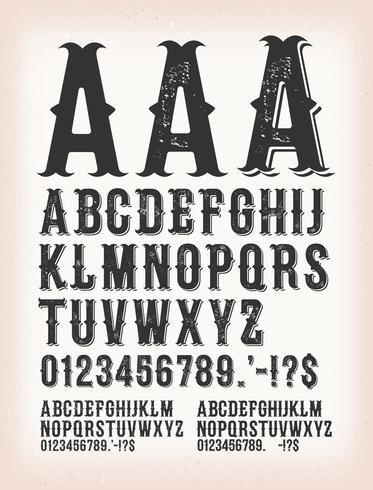Vintage Classic Western und Tattoo ABC-Schrift vektor